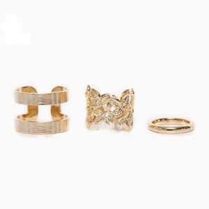Golden 3 Piece Ring Set
